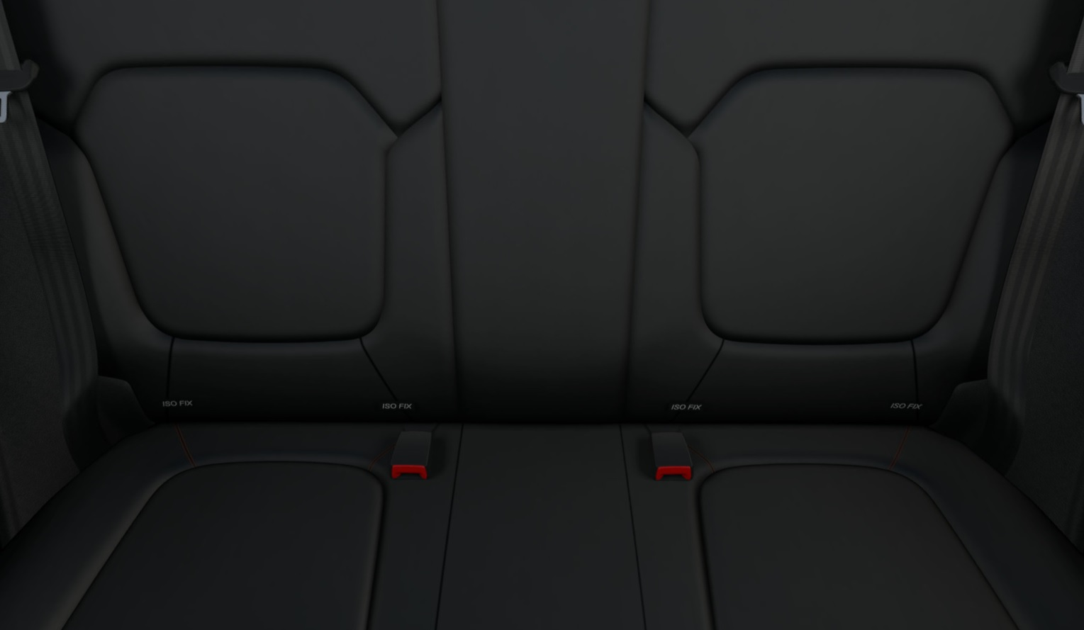 100% Artificial leather upholstery with orange stitching.