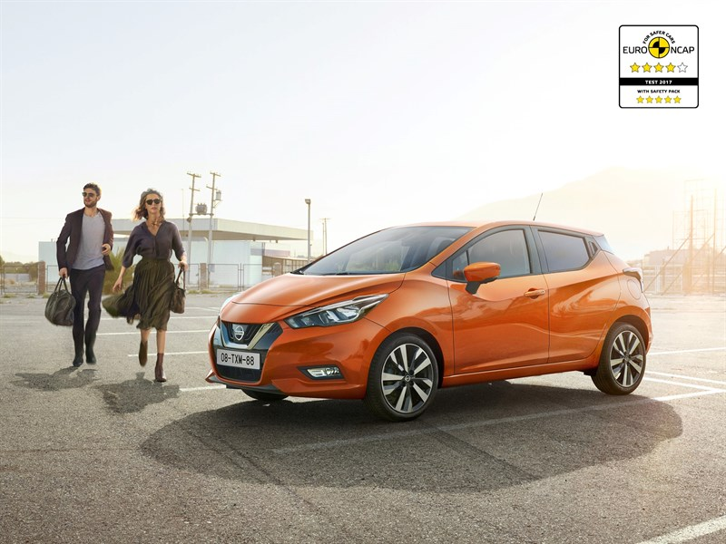 Helt nye Nissan Micra med sikkerhetspakke oppnår fem stjerner i kollisjonstest hos Euro NCAP