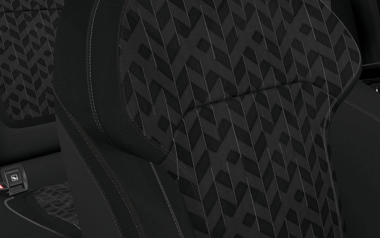 Mustriga, grafiithalli värvi tekstiilist istmekatted