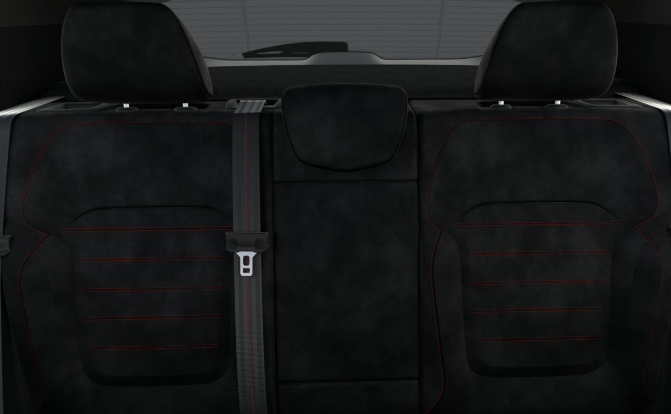 Leather Upholstery With Alcantara Elements And Red Stitching