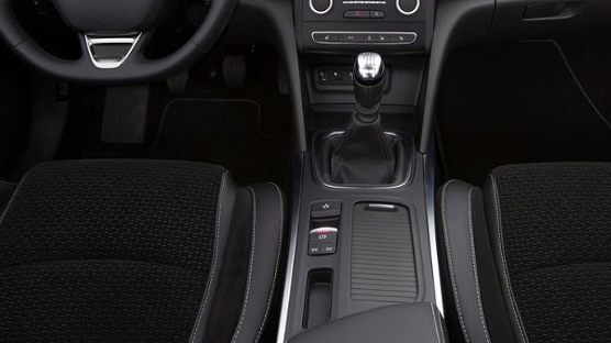 Textile velour seat upholstery combined with artificial leather