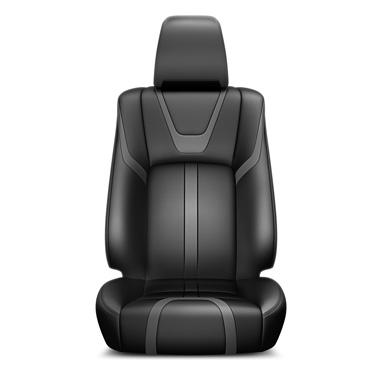 Musta ja tumehalli värvi nahast istmekatted ja nahkkattega käetugi