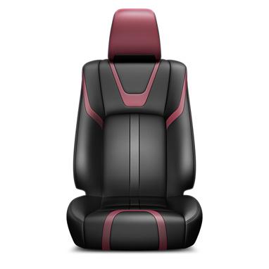 Musta ja punast värvi nahast istmekatted ja nahkkattega käetugi