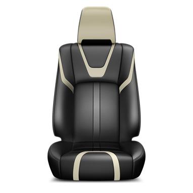 Musta ja beeži värvi nahast istmekatted ja nahkkattega käetugi