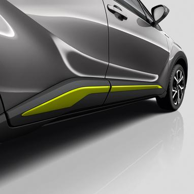 Боковые полоски на уровне порогов - ПОЛНЫЙ КОМПЛЕКТ - Lime Green (Pantone 381C)