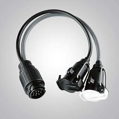 Veokonksu juhtmestiku adapter üleminekuks 13klemmilt (auto) 12N /12S tüüpi pistikupesadele (järelhaagis/haagissuvila)